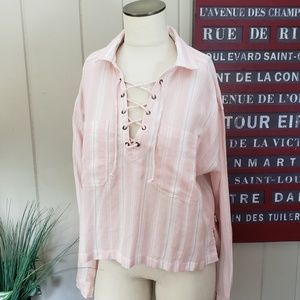 Forever 21 | L pink & white striped summer top
